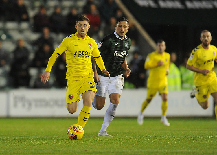 Fleetwood Town's Conor McAleny<br /> <br /> Photographer Kevin Barnes/CameraSport<br /> <br /> The EFL Sky Bet League One - Plymouth Argyle v Fleetwood Town - Saturday 24th November 2018 - Home Park - Plymouth<br /> <br /> World Copyright © 2018 CameraSport. All rights reserved. 43 Linden Ave. Countesthorpe. Leicester. England. LE8 5PG - Tel: +44 (0) 116 277 4147 - admin@camerasport.com - www.camerasport.com