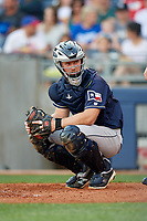 San Antonio Missions catcher Stephen McGee (9) looks into the dugout during a game against the Tulsa Drillers on June 1, 2017 at ONEOK Field in Tulsa, Oklahoma.  Tulsa defeated San Antonio 5-4 in eleven innings.  (Mike Janes/Four Seam Images)