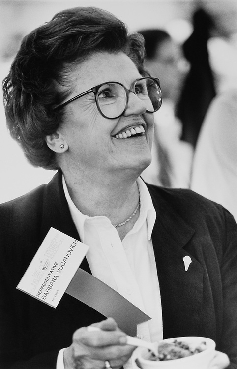 Rep. Barbara Vucanovich, R-Nev., eating ice cream in June 1989. (Photo by Laura Patterson/CQ Roll Call)