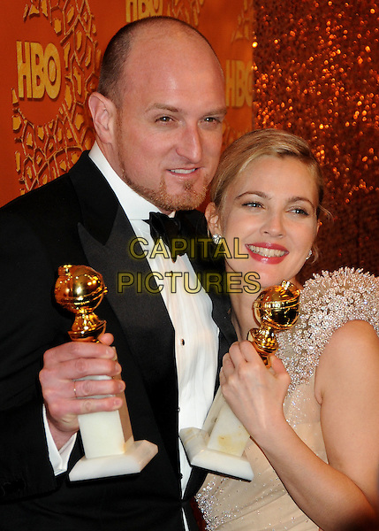 MICHAEL SUCSY & DREW BARRYMORE.HBO's 2010 67th Golden Globe Awards Post Party held at the Beverly Hilton Hotel, Beverly Hills, California, USA..January 17th, 2009.globes half length one shoulder beige beads beaded cream nude peach dress award trophy sequins sequined black tuxedo jacket.CAP/ADM/BP.©Byron Purvis/Admedia/Capital Pictures