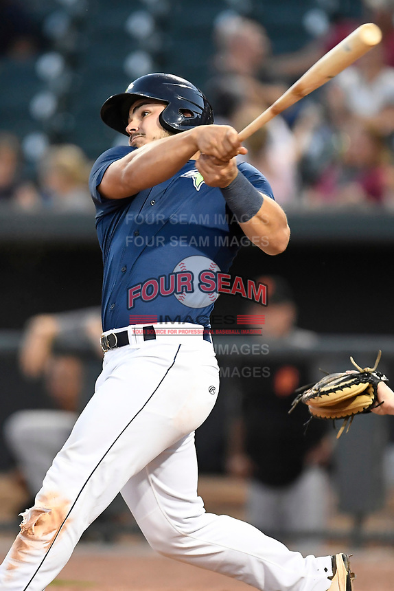 First baseman Brandon Brosher (25) of the Columbia Fireflies bats in a game against the Augusta GreenJackets on Sunday, July 30, 2017, at Spirit Communications Park in Columbia, South Carolina. Augusta won, 6-0. (Tom Priddy/Four Seam Images)