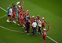 v. l. Bayerns Spieler jubeln / jubelt nach Spielende / celebrate at the end of the match. <br /> <br /> Fussball, Herren, Saison 2019/2020, 77. Finale um den DFB-Pokal in Berlin, Bayer 04 Leverkusen - FC Bayern München, 04.07. 2020, Foto: Matthias Koch/POOL