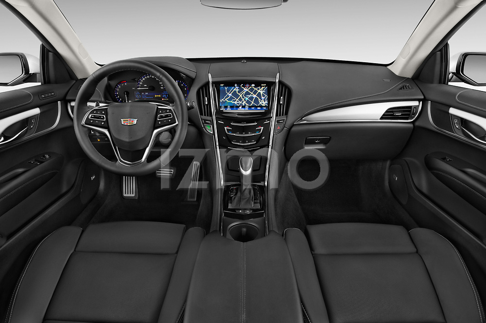 Stock photo of straight dashboard view of a 2015 Cadillac ATS 2.0 RWD Premium 2 Door Coupe Dashboard