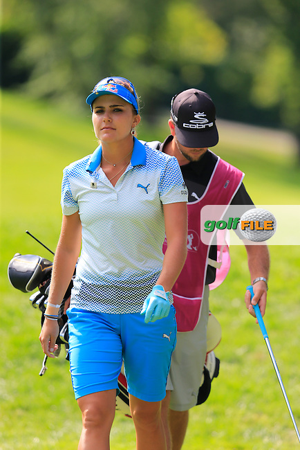 Lexi Thompson (USA) plays her 2nd shot from the rough on the 13th hole during Sunday's Final Round of the LPGA 2015 Evian Championship, held at the Evian Resort Golf Club, Evian les Bains, France. 13th September 2015.<br /> Picture Eoin Clarke | Golffile