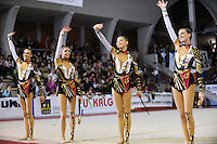 November 8, 2008; Durango, Spain (near Bilbao); Rhythmic gymnasts from Ukraine senior group wave to fans after routine on way to 2nd place at 2008 Euskalgym International..