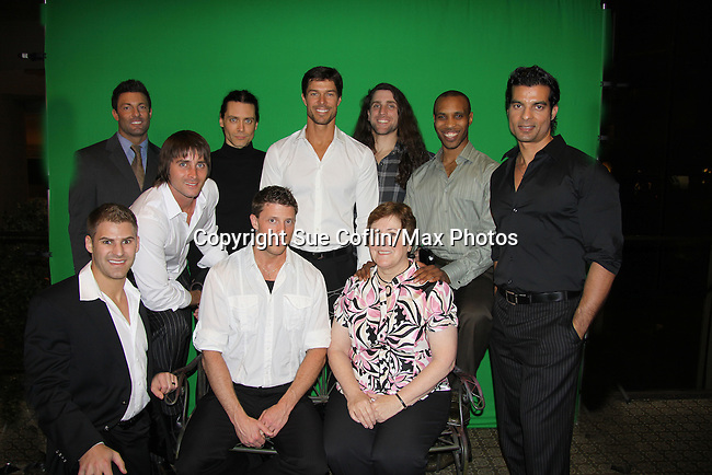 Nine Mr. Romantic Times contestants with New York Times Bestselling author Bobbi Smith (winner is Len back row center in White Shirt) (eight other contestants are Christopher, Dave, David, Devon, Jeremy, Scott, Shane & Stefan) at Romantic Times Booklovers Annual Convention 2011 - The Book Industry Event of the Year - April 6th to April 10th at the Westin Bonaventure, Los Angeles, California for readers, authors, booksellers, publishers, editors, agents and tomorrow's novelists - the aspiring writers. (Photo by Sue Coflin/Max Photos)