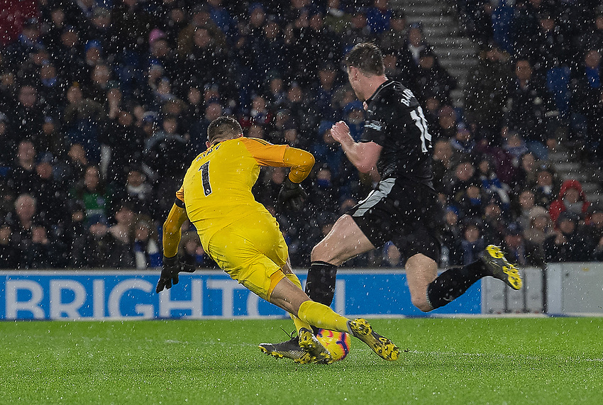 Brighton & Hove Albion's goalkeeper Matthew Ryan receives a yellow card and concedes a penalty for this tackle on Burnley's Ashley Barnes<br /> <br /> Photographer David Horton/CameraSport<br /> <br /> The Premier League - Brighton and Hove Albion v Burnley - Saturday 9th February 2019 - The Amex Stadium - Brighton<br /> <br /> World Copyright © 2019 CameraSport. All rights reserved. 43 Linden Ave. Countesthorpe. Leicester. England. LE8 5PG - Tel: +44 (0) 116 277 4147 - admin@camerasport.com - www.camerasport.com