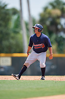 GCL Braves center fielder Carlos Baerga (64) leads off second base during a game against the GCL Pirates on July 26, 2017 at Pirate City in Bradenton, Florida.  GCL Braves defeated the GCL Pirates 12-5.  (Mike Janes/Four Seam Images)
