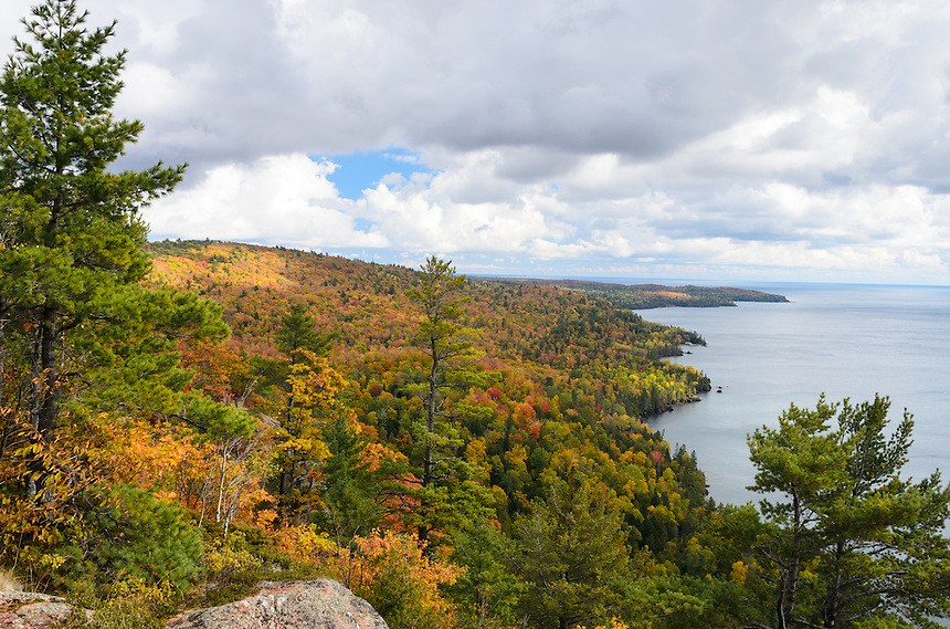 A beautiful autumn view of the colorful Keweenaw Peninsula and Lake Superior from Bare Bluff near Lac La Belle, MI.
