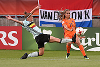 20170724 - TILBURG , NETHERLANDS : Belgian Laura deloose (L) and Dutch Lieke Martens (R)  pictured during the female soccer game between Belgium and The Netherlands  , the thirth game in group A at the Women's Euro 2017 , European Championship in The Netherlands 2017 , Monday 24 th June 2017 at Stadion Koning Willem II  in Tilburg , The Netherlands PHOTO SPORTPIX.BE | DIRK VUYLSTEKE