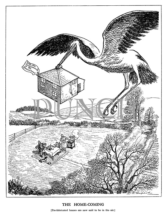 The Home-coming. [Pre-fabricated houses are now said to be in the air.]
