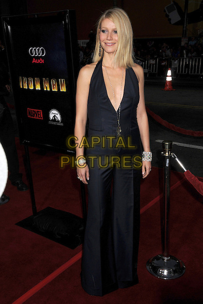 "GWYNETH PALTROW .""Iron Man"" Los Angeles Premiere at Grauman's Chinese Theatre, Hollywood, California, USA,.30 April 2008..full length halterneck waistcoat wide leg trousers black low cut cleavage necklace .CAP/ADM/BP.©Byron Purvis/Admedia/Capital PIctures"