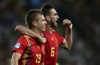 Spain's Dani Olmo, left, celebrates with his teammate Fabian Ruiz after scoring during the Uefa Under 21 Championship 2019 football final match between Spain and Germany at Udine's Friuli stadium, Italy, June 30, 2019. Spain won 2-1.<br /> UPDATE IMAGES PRESS/Isabella Bonotto