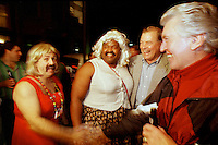 "Former Green Bay Packers guard Jerry Kramer and former Los Angeles Ram Claude Crabbe meet the Bud Light ""girls"" in the French Quarter prior to Super Bowl XXXI in January, 1997."