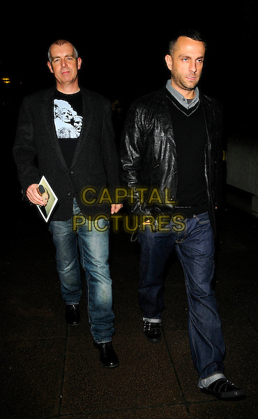 """NEIL TENNANT & GUEST.The """"Andy Warhol"""" Other Voices, Other Rooms"""" private view, hayward gallery, South bank, London, England..October 6th, 2008.full length jeans denim black jacket leather.CAP/CAN.©Can Nguyen/Capital Pictures."""