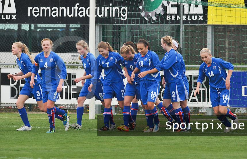 UEFA Women's Under 17 Championship - Second Qualifying round - group 1 : England - Iceland : .vreugde bij Ijsland na de 0-1.foto DAVID CATRY / Vrouwenteam.be