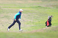 Robbie Cannon from Ireland on the 7th fairway during Round 3 Foursomes of the Men's Home Internationals 2018 at Conwy Golf Club, Conwy, Wales on Friday 14th September 2018.<br /> Picture: Thos Caffrey / Golffile<br /> <br /> All photo usage must carry mandatory copyright credit (&copy; Golffile | Thos Caffrey)
