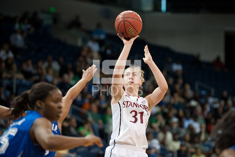NORFOLK, VA--Toni Kokenis makes two outside against Hampton University at the Ted Constant Convocation Center at Old Dominion University in Norfolk, VA in the first round of the 2012 NCAA Championships. The Cardinal advanced with a 73-51 win to play West Virginia on Monday, March 19.