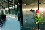 Valentines Day rose left on public AIDS memorial in Toronto, Canada