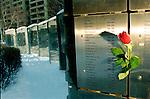 Valentines Day rose left on public AIDS memorial in Toronto, Canada