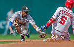 20 September 2015: Miami Marlins infielder Dee Gordon gets Yunel Escobar out at second during game action against the Washington Nationals at Nationals Park in Washington, DC. The Marlins fell to the Nationals 13-3 in the final game of their 4-game series. Mandatory Credit: Ed Wolfstein Photo *** RAW (NEF) Image File Available ***