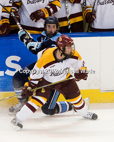 Kyle Beattie (Maine - 21), Mike Seidel (Duluth - 17) - The University of Minnesota Duluth Bulldogs defeated the University of Maine Black Bears 5-2 in their NCAA Northeast semifinal on Saturday, March 24, 2012, at the DCU Center in Worcester, Massachusetts.