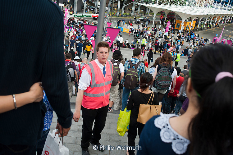 Olympic Park steward on duty in Startford during the London 2012 Olympic Games.