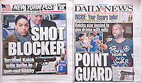 Headlines of New York tabloid newspapers are seen on Wednesday, February 26, 2014 reporting on the arrest on gun possession of New York Knicks basketball team point guard Raymond Felton. Felton's wife, Ariane Raymondo-Felton, with her lawyer, turned in the gun which the basketball player kept under their bed. Felton and his wife are currently in the process of divorcing. Raymondo-Felton stated that she was worried over her husband's state of mind and whether he would injure her or himself. (© Richard B. Levine)