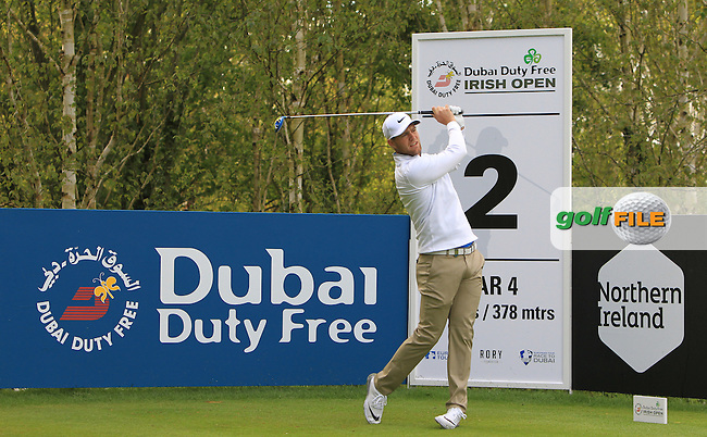 Lucas Bjerregaard (SWE) on the 2nd tee during Wednesday's Pro-Am round of the Dubai Duty Free Irish Open presented  by the Rory Foundation at The K Club, Straffan, Co. Kildare<br /> Picture: Golffile | Thos Caffrey<br /> <br /> All photo usage must carry mandatory copyright credit <br /> (&copy; Golffile | Thos Caffrey)