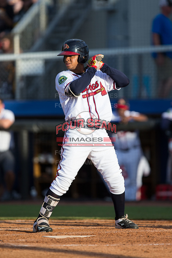 Leudys Baez (27) of the Danville Braves at bat against the Princeton Rays at American Legion Post 325 Field on June 25, 2017 in Danville, Virginia.  The Braves walked-off the Rays 7-6 in 11 innings.  (Brian Westerholt/Four Seam Images)