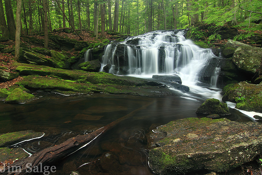 Spring flow in Tucker Brook cascades down the rock face.
