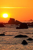 Pacific Ocean and coastline at sunset, Crescent City, California.