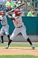 Alen Hanson (22) of the Altoona Curve bats during a game against the New Britain Rocks Cats at New Britain Stadium on July 23, 2014 in New Britain, Connecticut.  Altoona defeated New Britain 8-5. (Gregory Vasil/Four Seam Images)