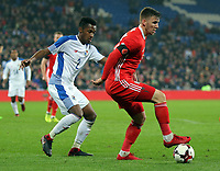 Ryan Hedges of Wales (R) closely marked by Michael Amir Murillo of Panama (L) during the international friendly soccer match between Wales and Panama at Cardiff City Stadium, Cardiff, Wales, UK. Tuesday 14 November 2017.