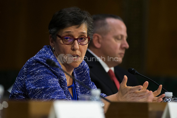 Karen Zacharia, Deputy General Counsel and Chief Privacy Officer of Verizon, during a hearing entitled 'Protecting Consumers in the Era of Major Data Breaches' before the Senate Commerce, Science, and Transportation Committee on Capitol Hill in Washington, D.C. on November 8th, 2017. Credit: Alex Edelman / CNP /MediaPunch