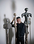 Portrait of sculptor David Hostetler at his studio outside of Athens, OH.