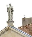 VMI Vincentian Heritage Tour: A statue of Vincent de Paul looks over the members of the Vincentian Mission Institute cohort as they tour the remains of the medieval castle Le château de Folleville, Wednesday, June 22, 2016, in northern France. The manor and castle of Folleville were the property of Philippe Emmanuel de Gondi. Vincent de Paul was the spiritual advisor to Phillippe's wife, Madame de Gondi. The site is also home of Church of Saint-Jacques-Le-Majeur et Saint-Jean-Baptiste, where Vincent spoke in 1617, a sermon credited for the creation of the Congregation of the Mission. (DePaul University/Jamie Moncrief)