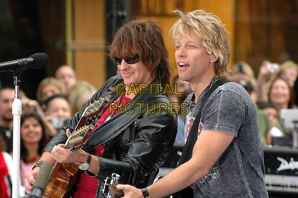 BON JOVI - RICHIE SAMBORA & JON BON JOVI.NBC Today Show in Rockefeller Plaza, New York, New York.  .September 23rd, 2005.Photo Credit: Patti Ouderkirk AdMedia/Capital Pictures.Ref: PO.half length stage live performance gig sunglasses shades guitar.www.capitalpictures.com.sales@capitalpictures.com.© Capital Pictures.