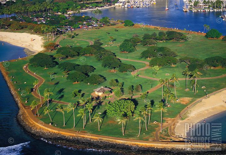 Aerial view of magic island beach park, Oahu.
