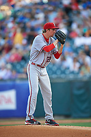 Syracuse Chiefs starting pitcher Erick Fedde (22) looks in for the sign during a game against the Buffalo Bisons on July 3, 2017 at Coca-Cola Field in Buffalo, New York.  Buffalo defeated Syracuse 6-2.  (Mike Janes/Four Seam Images)