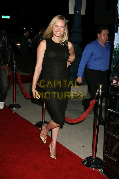 "RACHEL ROBERTS.""The Darjeeling Limited"" Los Angeles Premiere held at the Academy of Motion Picture Arts & Sciences, Beverly Hills, California, USA..October 4th, 2007.full length black dress clutch purse bag leopard print shoes pregnant.CAP/ADM/RE.©Russ Elliot/AdMedia/Capital Pictures."