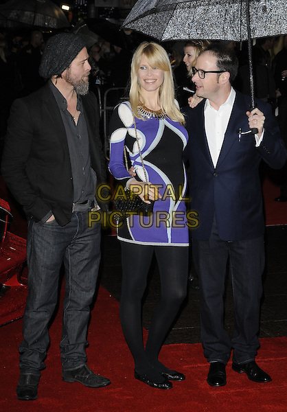 BRAD PITT, CLAUDIA SCHIFFER & MATTHEW VAUGHN.'Kick-Ass' UK film premiere, Empire cinema, Leicester Square, London, England, UK..March 22nd, 2010.arrivals full length married husband wife vaughan pregnant black suit umbrella purple print dress bag patterned pattern gold chain strap tights ballet flats flat shoes glasses profile maternity white shirt navy blue jacket hat beanie jeans denim  beard facial hair.CAP/CAN.©Can Nguyen/Capital Pictures.