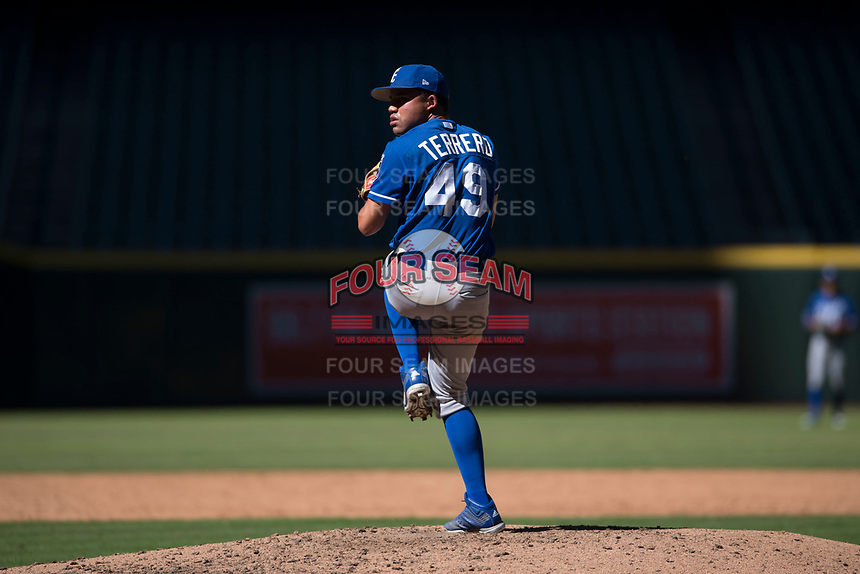Kansas City Royals relief pitcher Franco Terrero (49) delivers a pitch to the plate during an Instructional League game against the Arizona Diamondbacks at Chase Field on October 14, 2017 in Scottsdale, Arizona. (Zachary Lucy/Four Seam Images)