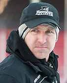 Nate Leaman (PC - Head Coach) -  - The participating teams in Hockey East's first doubleheader during Frozen Fenway practiced on January 3, 2014 at Fenway Park in Boston, Massachusetts.