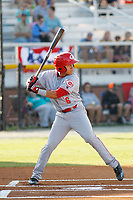 Greeneville Reds outfielder Brian Rey (6) at bat during a game against the Burlington Royals at the Burlington Athletic Complex on July 7, 2018 in Burlington, North Carolina. Burlington defeated Greeneville 2-1. (Robert Gurganus/Four Seam Images)