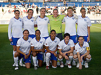 The Boston Breakers line up before the game at the Maryland SoccerPlex in Boyds, Maryland. The Washington Freedom tied the Boston Breakers, 0-0.