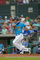 Myrtle Beach Pelicans designated hitter Tyler Alamo (13) at bat during a game against the Winston Salem Dash at Ticketreturn.com Field at Pelicans Ballpark on July 22, 2018 in Myrtle Beach, South Carolina. Winston-Salem defeated Myrtle Beach 7-2. (Robert Gurganus/Four Seam Images)