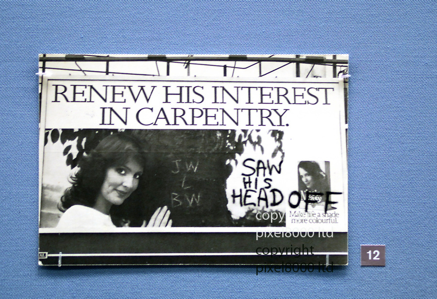 Pic shows: Feminist daubings of sexist billboards<br /> <br /> <br /> Political  and feminist postcards feature heavily<br /> <br /> <br />  British Museum - exhibition of postcard artworks featuring Andy Warhol, Jeremy Deller, Gilbert & George and Yoko Ono,<br /> <br /> <br /> <br /> pic by Gavin Rodgers/Pixel8000