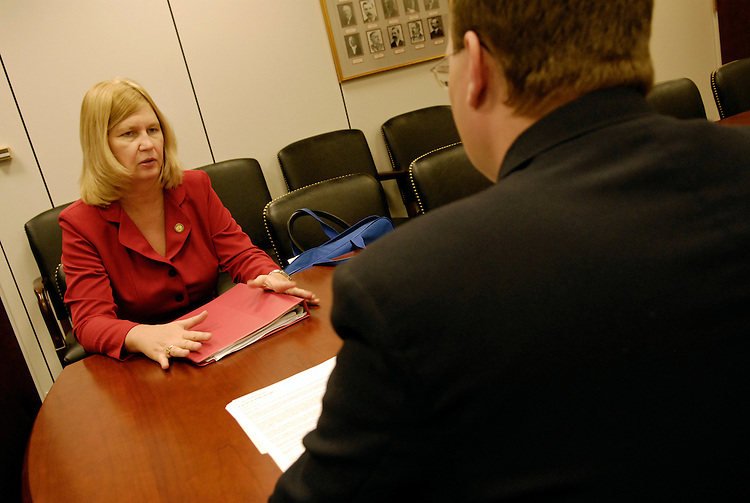Pam Sterner meets with Sen. Kent Conrad's Veterans Legislative Assistant Shawn Ferguson about the Stolen Valor Act - bipartisan legislation to penalize people who falsely claim to be decorated war veterans. Sterner's 2004 Colorado State University-Pueblo research paper was the basis for the legislation, which is currently in committee.