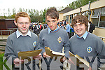 Junior Cert sutdents from CBS The Green, Tralee with their results on Wednesday, From Left: Owen Hurley, James Kelly,  Greogur Pituch.